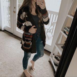Alya Brown Boho Aztec Knit Cardigan